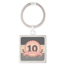 10th Anniversary Gift Chevron Dots Square Keychain
