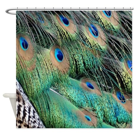 Peacock Feathers Tan Green And Blue Shower Curtain By