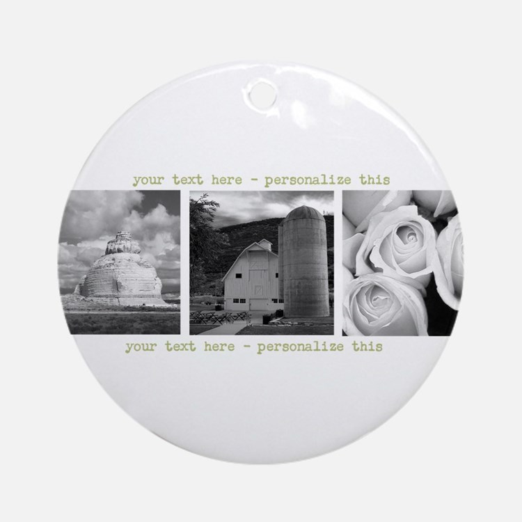 Your Artwork and Text here Round Ornament