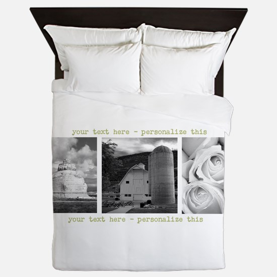 Your Artwork and Text here Queen Duvet