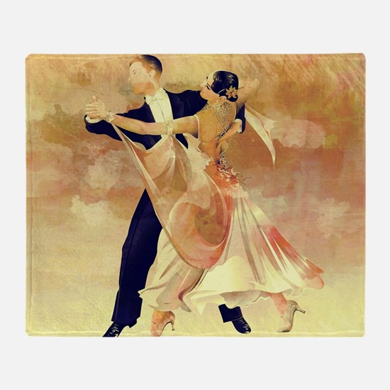 Vintage couple dancers Throw Blanket
