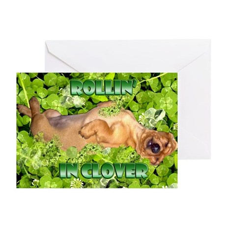 Rollin In Clover Dachshund Greeting Cards (Pk of 1
