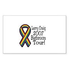 Larry Craig Bathroom tour Rectangle Decal