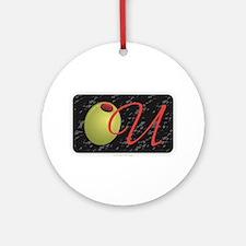 Olive U Black Round Ornament