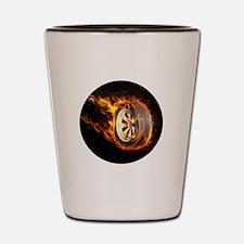 Flaming ghost wheel Shot Glass
