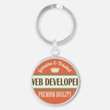 web developer vintage logo Round Keychain