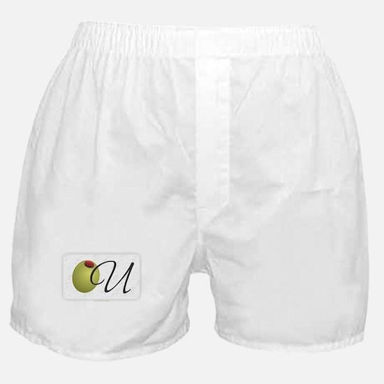 Olive U White Boxer Shorts