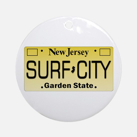 Surf City NJ Tag Giftware Round Ornament