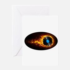 Flaming record ghost Greeting Cards