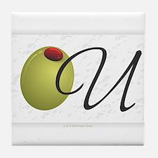 Olive U White Tile Coaster