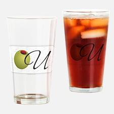 Olive U White Drinking Glass