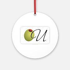 Olive U White Round Ornament