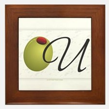 Olive U White Framed Tile