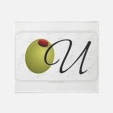 Olive U White Throw Blanket