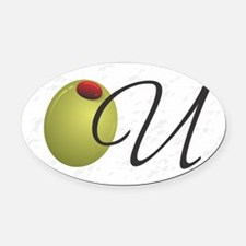 Olive U White Oval Car Magnet