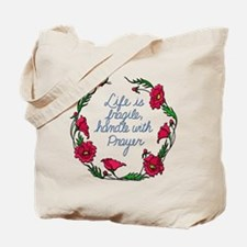 Flower Wreath QUOTE Handle with Prayer Tote Bag