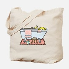 Little Girl Bubble Bath in Claw Foot Tub Tote Bag