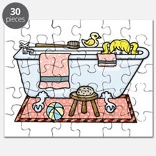 Little Girl Bubble Bath in Claw Foot Tub Puzzle