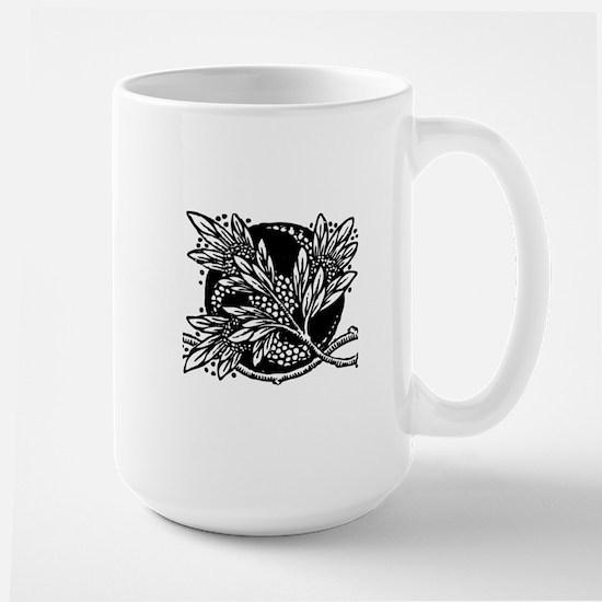 Damask Antique Floral Design Art Nouvea Large Mug