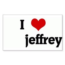 I Love jeffrey Rectangle Decal