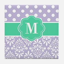 Purple Teal Dots Damask Monogram Tile Coaster