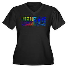 Burst WWJD Women's Plus Size V-Neck Dark T-Shirt