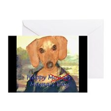 Happy Mona's Day Dachshund Greeting Cards (Pk of 2