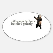 Fun Irritated Grizzly Oval Decal