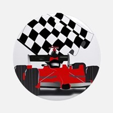 Red Race Car with Checkered Flag Round Ornament