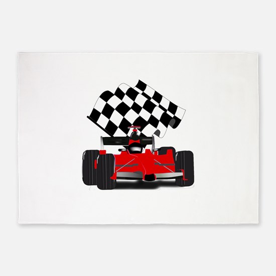 Red Race Car with Checkered Flag 5'x7'Area Rug