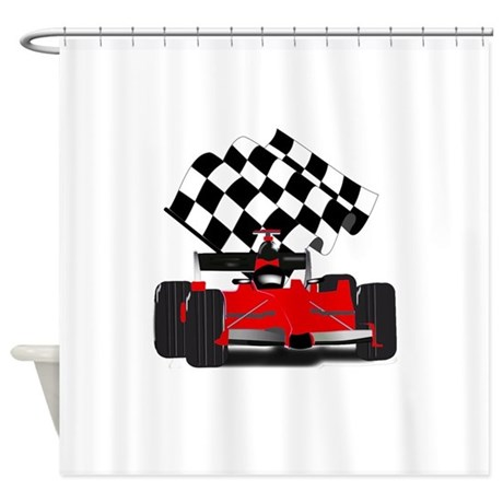 Red race car with checkered flag shower curtain by admin for Race car shower curtain