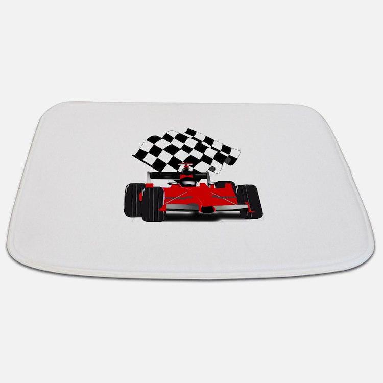 Red Race Car with Checkered Flag Bathmat