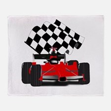 Red Race Car with Checkered Flag Throw Blanket
