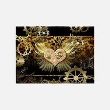 Steampunk, wonderful heart 5'x7'Area Rug