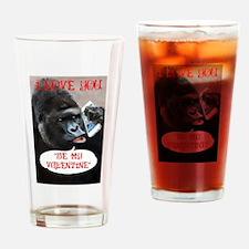 Valentines Gorilla Drinking Glass