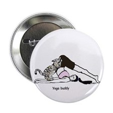 Yoga buddy cat Button