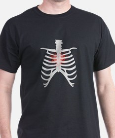 Emo Goth Heart Throb Rib Cage Vector Art T-Shirt