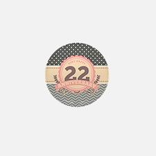 22nd Anniversary Gift Chevro Mini Button (10 pack)