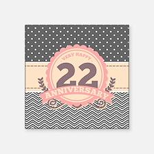 "22nd Anniversary Gift Chevr Square Sticker 3"" x 3"""