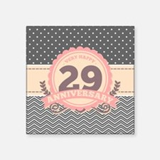 "29th Anniversary Gift Chevr Square Sticker 3"" x 3"""