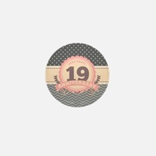 19th Anniversary Gift Chevro Mini Button (10 pack)