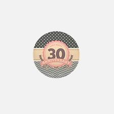 30th Anniversary Gift Chevron Dots Mini Button
