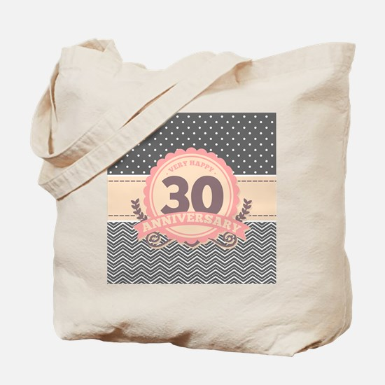 30th Anniversary Gift Chevron Dots Tote Bag