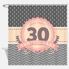 30th Anniversary Gift Chevron Dots Shower Curtain