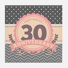30th Anniversary Gift Chevron Dots Tile Coaster