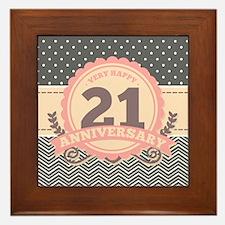21st Anniversary Gift Chevron Dots Framed Tile