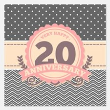 20th Anniversary Gift Chevr 5.25 x 5.25 Flat Cards