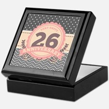 26th Anniversary Gift Chevron Dots Keepsake Box