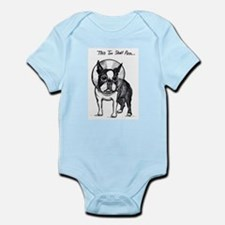 """Boston Terrier in Cone of Shame """"This To Body Suit"""
