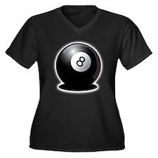 8 Ball! Women's Plus Size V-Neck Dark T-Shirt